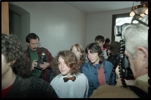 Amy Carter (center, obscured) and other defendants filing out of the courtroom following their acquittal in the CIA protest trial