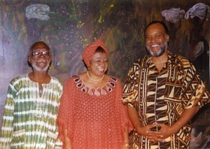 Sam Greenlee, Catherine Acholonu, and Everett Hoagland at the Pan-African Writers Association World Poetry Festival in Accra, Ghana
