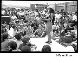 Buffy Sainte-Marie performing at the Newport Folk Festival