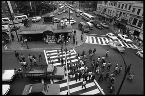 Harvard Square: bird's-eye view of subway station and intersection, looking east along Massachusetts Avenue
