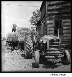 Haying in Virginia: bales on a flatbed awaiting the barn