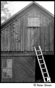 Ladder leaning against the gable end of the barn, Packer Corners commune