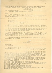 Form of letter of application for examination for commission in Officer's Reserve Corps.