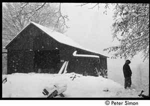 Communal barn in falling snow, Packer Corners commune