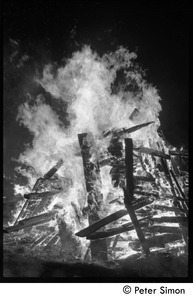 After the Maypole celebration, Packer Corners commune: a roaring bonfire