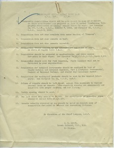 American Expeditionary Forces medical supply requisition form list of rules