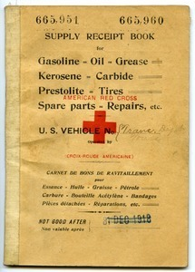 American Red Cross supply receipt book