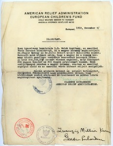 American Relief Administration certificate