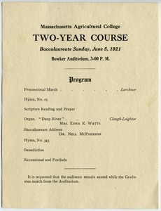 Two-year course Baccalaureate Sunday, June 5, 1921