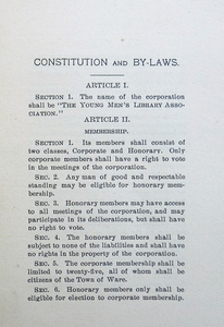 Young Men's Library Association: page from Constitution and by-laws, 1903