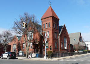 Young Men's Library Association: exterior, view from across the street
