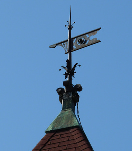 Young Men's Library Association: weathervane on top of library