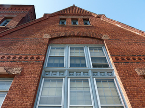 Young Men's Library Association: detail of front exterior