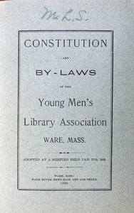 Young Men's Library Association: Cover of Constitution and By-laws, 1903