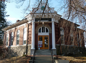 Paige Memorial Library: exterior view of library entrance