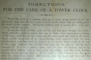 Paige Memorial Library: 'Directions for care of a tower clock'