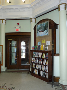 Paige Memorial Library: interior view near library entrance