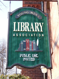 Young Men's Library Association: exterior sign