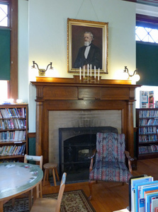 Paige Memorial Library: fireplace and seating