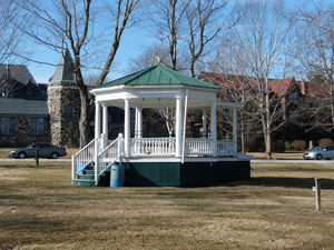 Petersham Memorial Library: bandstand on the Town Common with the library in the background