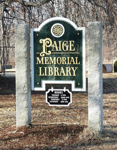 Paige Memorial Library: sign in front of the library