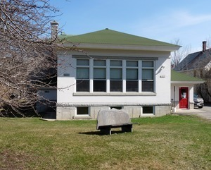 Belding Memorial Library: rear view, exterior