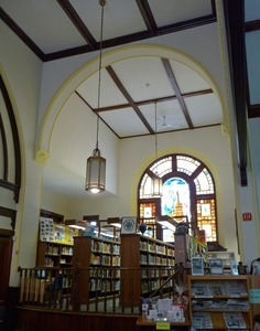 Clapp Memorial Library: interior view with book stacks