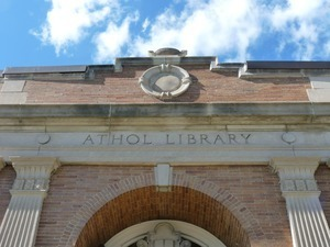 Athol Public Library: exterior view of front entrance (detail)