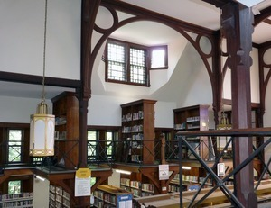 Clapp Memorial Library: interior view from the balcony