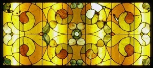 Clapp Memorial Library: interior view of stained glass window (detail)
