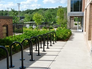 Athol Public Library: side entrance with bike racks