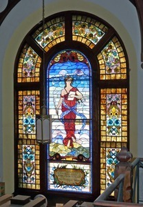 Clapp Memorial Library: interior view of stained glass window