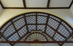 Clapp Memorial Library: interior view of decorative wooden arch
