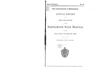 Annual Report of the Trustees of the Northampton State Hospital, for the year ending November 30, 1923. Public Document no. 21