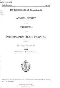 Annual Report of the Trustees of the Northampton State Hospital, for the year ending November 30, 1934. Public Document no. 21