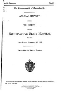 Annual Report of the Trustees of the Northampton State Hospital, for the year ending November 30, 1929. Public Document no. 21