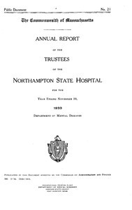 Annual Report of the Trustees of the Northampton State Hospital, for the year ending November 30, 1933. Public Document no. 21