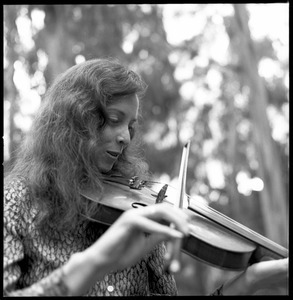 Woman playing a fiddle in a eucalyptus grove