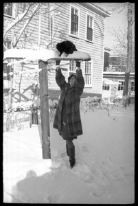 Woman in a heavy fur coat helping down a cat from on a post outside after a heavy snow
