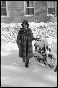 Woman in a heavy fur coat retrieving a motocycle after a heavy snow