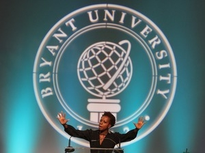 Actress Viola Davis delivering a speech at the 17th annual Women's Summit at Bryant University
