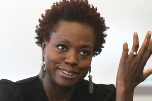 Actress Viola Davis at the press conference prior to her speech at the 17th annual Women's Summit at Bryant University