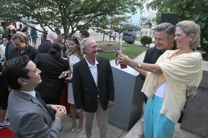 Alec Baldwin with Stephanie Chafee and Governor Lincoln Chafee, at Adams Library, Centrals Falls, R.I.