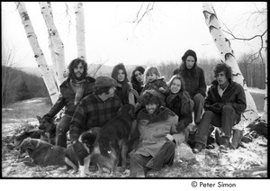 Group portrait: (l.-r.) Elliot Blinder, Harry Saxman, Catherine Blinder, Bonnie Fisher, Peter Simon, Lacey Mason, Jenny Rose, and Tim Rossner with dogs