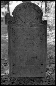 Gravestone of Moses Niles (1789) and daughter Pamela (1783), Old Poquonock Burying Ground