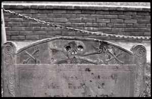 Close-up of skull and crossbones on unidentified gravestone, Granary Burying Ground
