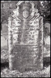 Gravestone of Jonathan Bigelow (1779) and Thomas Bigelow (1767), Ancient Burying Ground