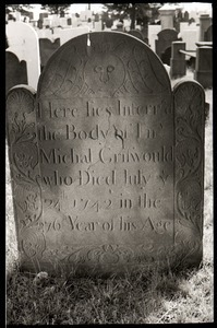 Gravestone of Ens. Michael Griswold (1742), Wethersfield Village Cemetery