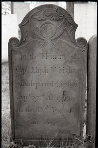 Gravestone for Elijah Wright (1799), Wethersfield Village Cemetery