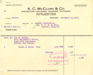 Invoice from A. C. McClurg & Co.